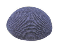Thick Knitted Blue Kippah