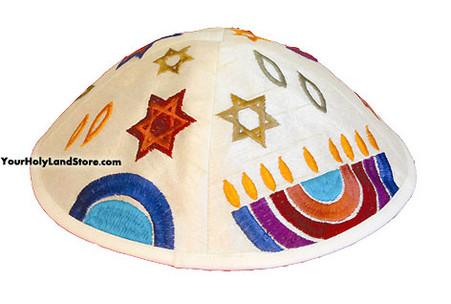 Kippah with Embroidered Menorah and Star of David