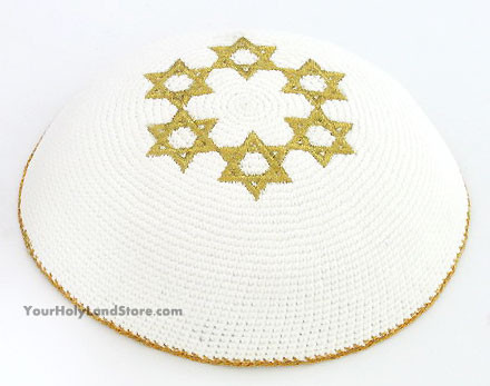 Knitted White Kippah with Golden Stars of David