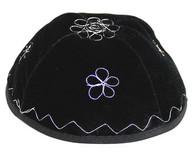 Velvet Kippah with Silver Embroidery