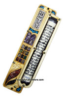 Door Mezuzah with Gemstones and Scroll