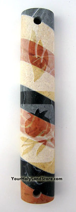 Jerusalem Stone Mezuzah - Pomegranate Design