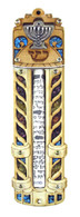 Mezuzah with Menorah Decoration and Scroll