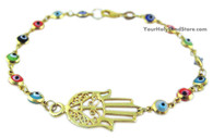 Hamsa Protection Hand and Evil Eye Bracelet