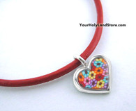 Thousand Flowers Kabbalah Red String Bracelet with Heart Pendant