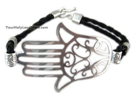 Sterling Silver Protection Hamsa Hand Bracelet