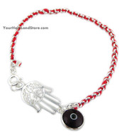 Kabbalah Red String Bracelet with Hamsa and Evil Eye