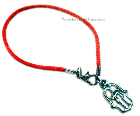 KABBALAH RED STRING BRACELET WITH HAMSA HAND & CHAI