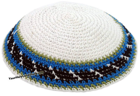 Knitted Kippah with Multicolored Border
