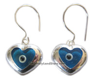 925 Sterling Silver Evil Eye Heart Earrings