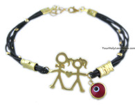 Evil Eye Protection Bracelet with Boy and Girl Charm