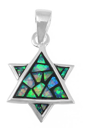 Silver and Opal Star of Magen David Pendant