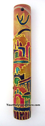 Jerusalem Stone Mezuzah with Hand Painted Views