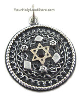 Silver and Gold Star of David Filigree Pendant with Garnet