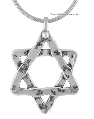 Silver Jewish Star of David Necklace