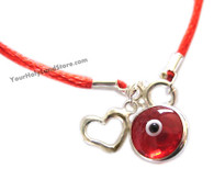 Red String Kabbalah Bracelet with Red Evil Eye Charm