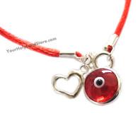 Red String Kabbalah Bracelet with Red Evil Eye Charm