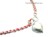 Red String Sterling Silver Kabbalah Bracelet with Heart Pendant