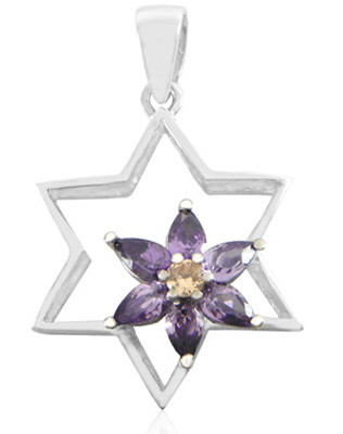 Sterling Silver and Swarovski Crystals Star of David Pendant