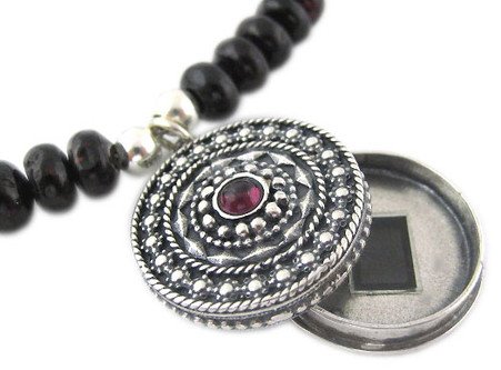 Locket with Book of Psalms - Gemstone Necklace - Yemenite Design