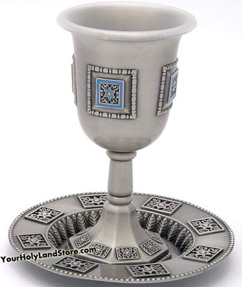 Enamel Shabbat Kiddush Cup