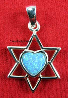Star of David with Opal Heart Pendant