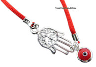 KABBALAH RED STRING BRACELET with Silver Protection Hand