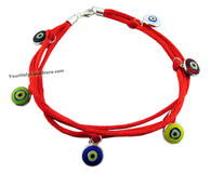 KABBALAH RED STRING BRACELET with Colorful Evil Eyes