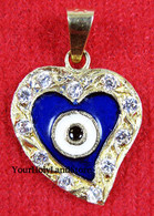 Solid Gold HEART PENDANT AGAINST EVIL EYE