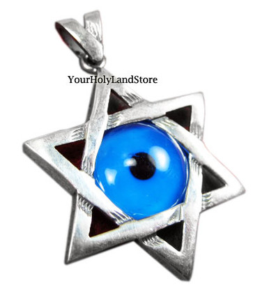 Star of Magen David Pendant with Evil Eye