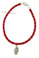 Silver Red String Kabbalah Hamsa Bracelet