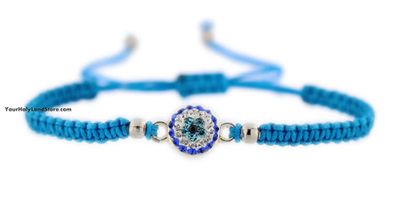 Blue Macrame Bracelet with Evil Eye