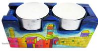 Hand Painted Jerusalem Travel Candlesticks
