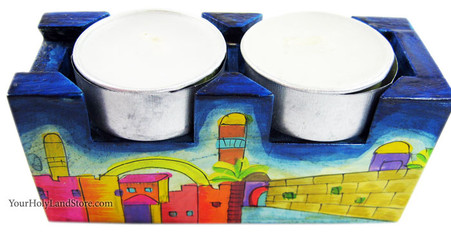 Hand Painted Jerusalem Travel Candlesticks