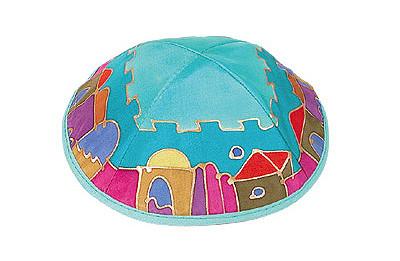 Hand Painted Silk JEWISH JERUSALEM KIPPAH