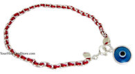Sterling Silver RED STRING KABBALAH BRACELET + EVIL EYE