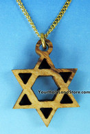 OLIVE WOOD STAR OF DAVID NECKLACE