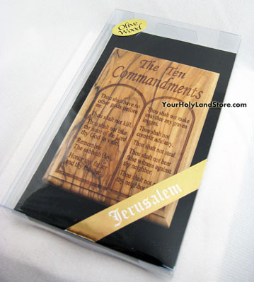 Olive Wood Ten Commandments Wall Plaque