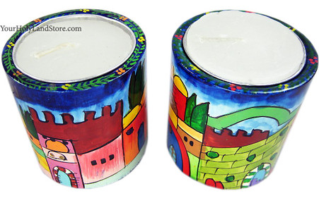 Jerusalem Shabbat Hand Painted Candlesticks