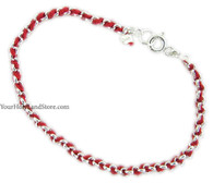925 Sterling Silver Red String Kabbalah Bracelet
