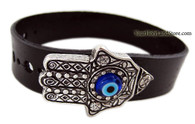 HAMSA HAND & EVIL EYE LEATHER BRACELET