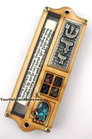 Wood Mezuzah with Hamsa and Shema Yisrael Scroll