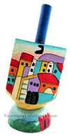 Hanukkah Hand Painted Dreidel with Stand