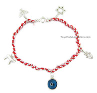 RED STRING KABBALAH BRACELET + 5 PENDANTS