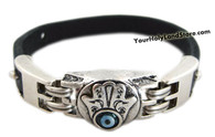 EVIL EYE & KABBALAH HAND LEATHER BRACELET