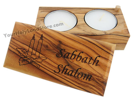 Sabbath Olive Wood Candlesticks