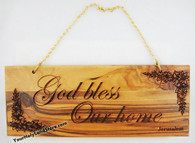 "Olive Wood ""God Bless Our Home"" Wall Plaque"