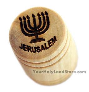 Jerusalem & Menorah OLIVE WOOD THIMBLE