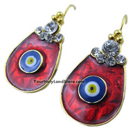 EVIL EYE PROTECTION EARRINGS WITH WHITE CRYSTALS