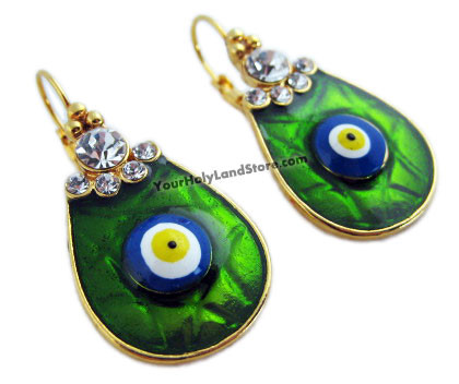 Enamelled and Gold Plated EVIL EYE PROTECTION EARRINGS